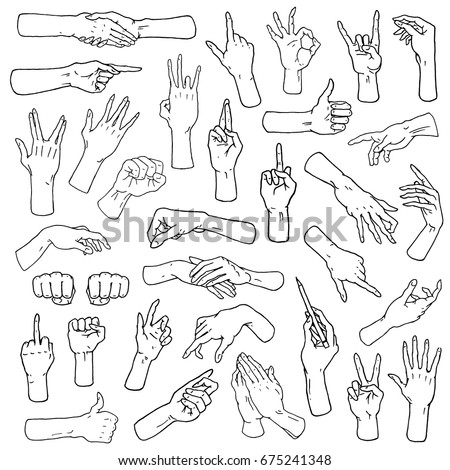Gestures arms stop, palm, thumbs up, finger pointer, ok, like and pray or handshake, fist and peace or rock n roll. engraved hand drawn in old sketch style, vintage collection of emotion and signs. Foto stock ©