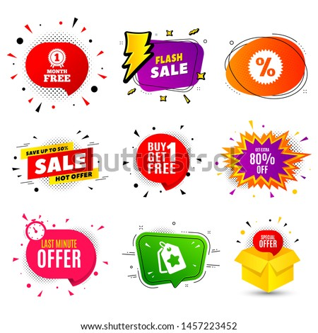 Get Extra 80% off Sale. Banner badge, flash sale bubble. Discount offer price sign. Special offer symbol. Save 80 percentages. Last minute offer. Sticker badge, comic bubble. Discounts box. Vector