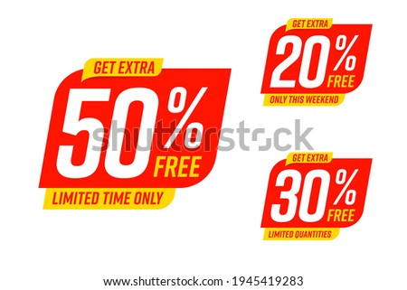 Get extra 50, 30, 20 percent free discount only on weekend. Limited time marketing promotion offer for cheap shopping, economic purchase sale label set vector illustration isolated on white background ストックフォト ©