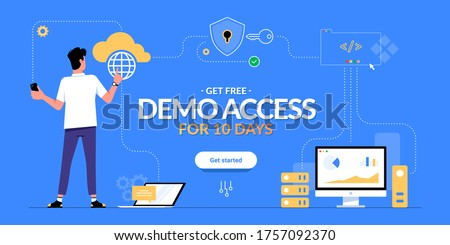 Get free demo access to SaaS, PaaS or IaaS promotional advertising banner. Man looking on cloud computing services scheme