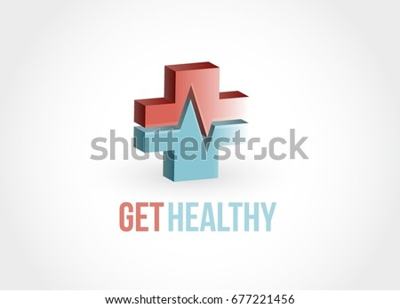 get healthy red and blue lifeline cross illustration isolated over white
