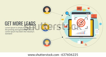Get more leads, lead generation, on-line sales vector concept with icons isolated on light background