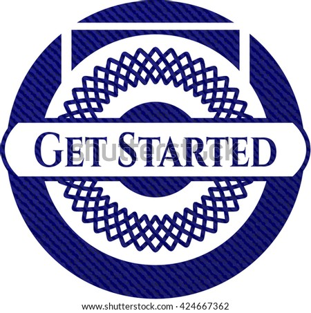 Get Started badge with denim texture