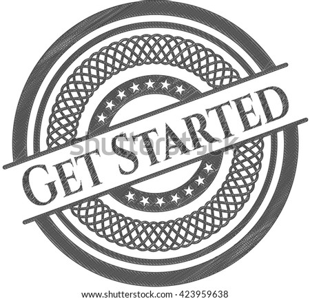Get Started emblem with pencil effect