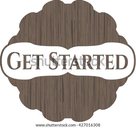 Get Started retro wooden emblem