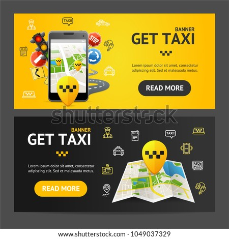 Get Taxi Car Service Banner Realistic Detailed 3d Horizontal Set. Vector illustration of Public Transport in City Banners