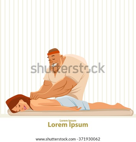 getting a massage, cartoon characters, spa, relaxation, wellness salon, vector illustration, woman