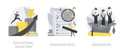 Getting an academic degree abstract concept vector illustration set. Educational trajectory, exams and tests, graduation day, school classroom, exam timetable, test results abstract metaphor.