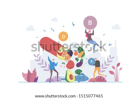 Getting Healthy With Vitamins Vector Illustration Concept Showing a group of people consume vitamin in their daily life, Suitable for landing page, ui, web, App intro card, editorial, flyer