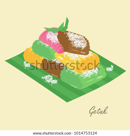 Getuk Lindri with grated coconut, Indonesian traditional cake. Indonesian traditional dessert cartoon vector