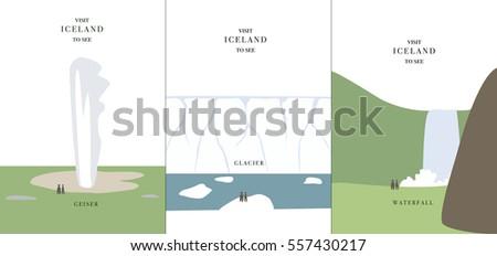 geyser glacier and waterfall