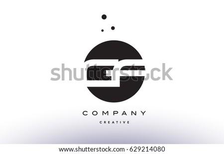 gf g f alphabet company letter logo design vector icon template simple black white circle dot dots