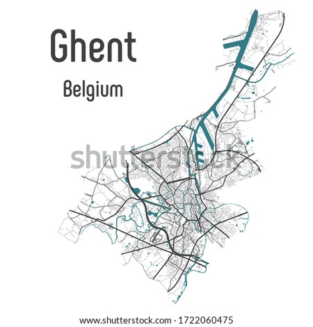 Ghent Gent Gand map with roads and rivers, city municipality administrative borders, art design with grey and blue on white background