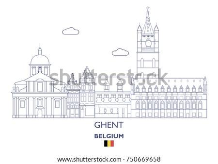 ghent linear city skyline