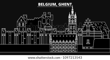 Ghent silhouette skyline. Belgium - Ghent vector city, belgian linear architecture, buildings. Ghent travel illustration, outline landmarks. Belgium flat icons, belgian line banner