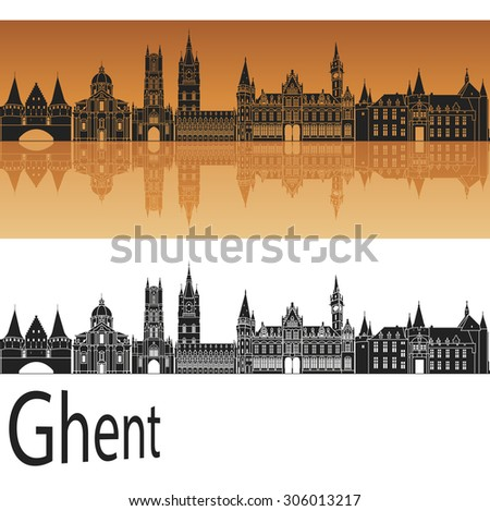 ghent skyline in orange