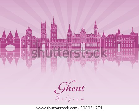ghent skyline in purple radiant