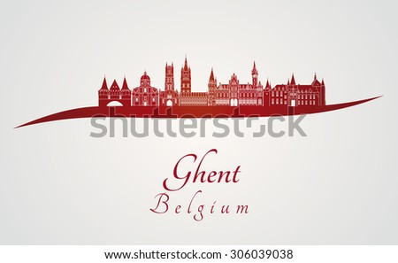ghent skyline in red and gray