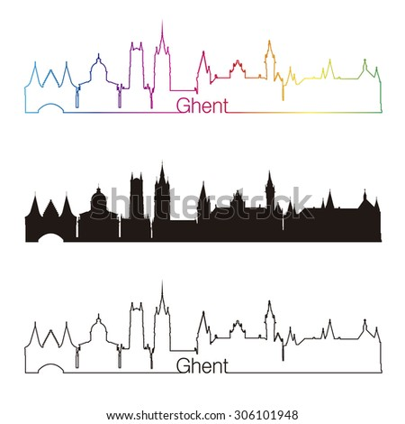 ghent skyline linear style with