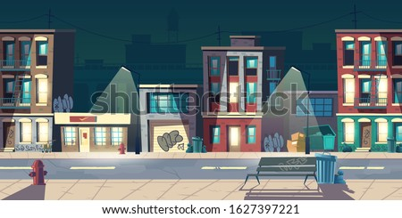 Ghetto street at night, slum houses, old buildings with glow windows and graffiti on walls. Dilapidated dwellings stand on roadside with lamps, fire hydrants, litter bins cartoon vector illustration