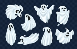 Ghost character. Halloween scary ghostly monster, dead boo spook and cute funny boohoo spooky fly anima or horror curious devil phantom costume isolated cartoon vector icon set