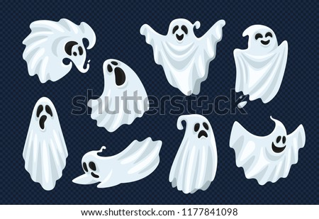 Ghost character. Halloween scary ghostly monster, dead boo spook and cute funny boohoo spooky fly anima or horror curious devil phantom costume isolated cartoon vector icon set Foto d'archivio ©