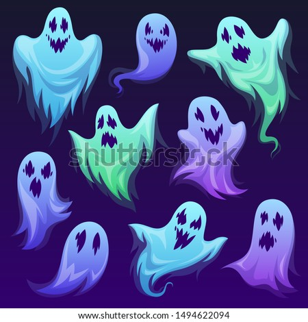 Ghost character. Halloween scary ghostly monster, spooks. Cute funny friendly ghoul, horror phantoms and holiday costume vector cartoon buster frightening creature design Сток-фото ©