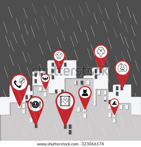 ghost city geo tag icons vector