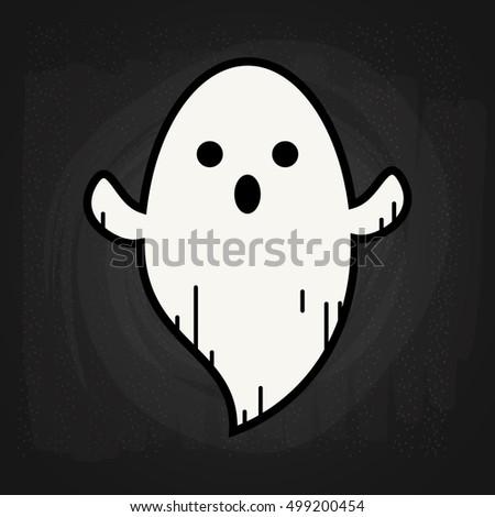 ghost doodle on blackboard
