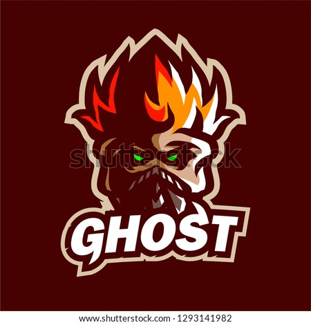 ghost fire mascot logo gaming