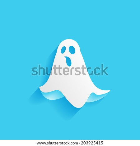 ghost, flat icon isolated on a blue background for your design, vector illustration Сток-фото ©