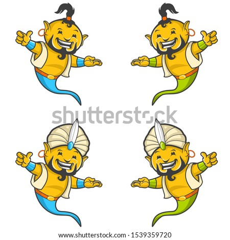 Ghost Genius 7 Mascot Character Illustration Vector Design  Foto stock ©