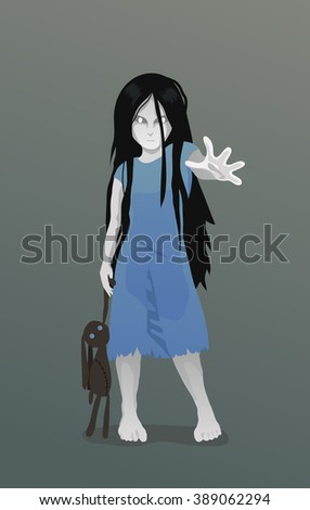 ghost girl  with toy