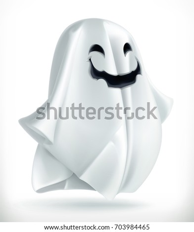 Ghost. Happy Halloween, 3d vector icon.