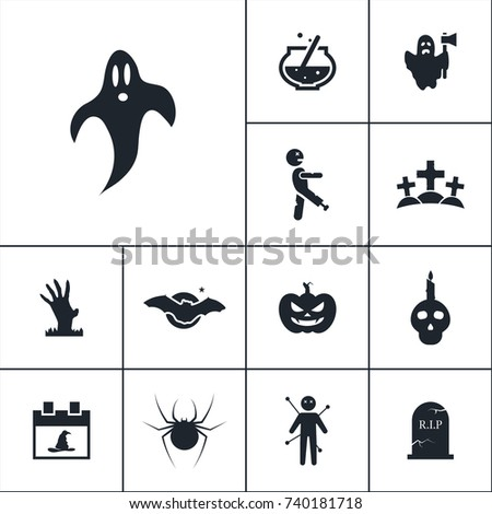 ghost icon halloween set simple