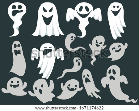 Ghost icons. Scary white ghosts design on black background - Halloween celebration