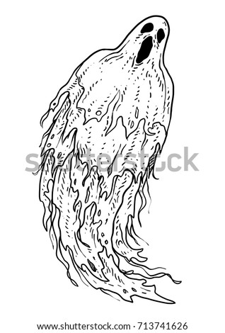 Ghost illustration, drawing, engraving, ink, line art, vector