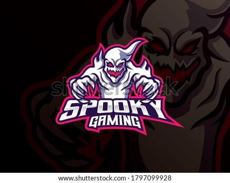 Ghost mascot sport logo design. Spooky ghost mascot vector illustration logo. Spooky mascot design, Emblem design for esports team. Vector illustration