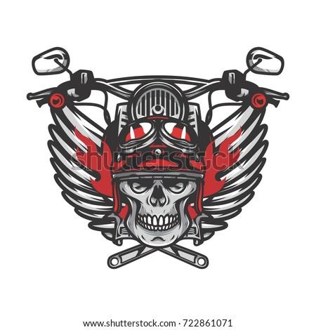 Ghost Rider Road Biker Mascot Logo Vector Illustration Workshop