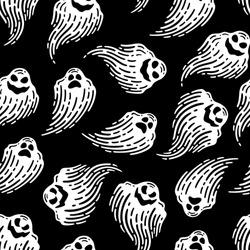 Ghost seamless pattern in dark background.