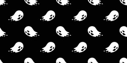 Ghost seamless pattern vector Halloween spooky repeat wallpaper scarf isolated tile background devil evil cartoon illustration doodle gift wrap paper design