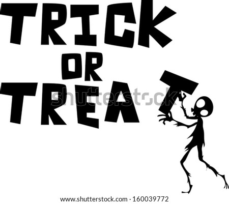 "ghost skeleton hold ""trick or treat"" text on white background"