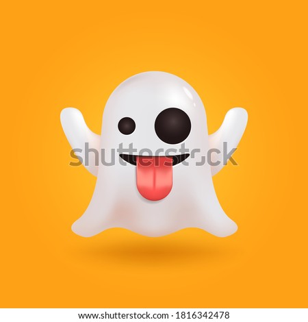 Ghost social media chat emoticon. Cute emoji. Realistic 3D render vector.  Halloween spirit element.