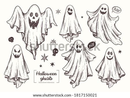 ghosts. Halloween animal. Vector Hand Drawn. Line art. Sketch Illustration. Ghost.