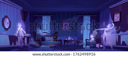 Ghosts in old abandoned living room with broken furniture at night. Vector cartoon scary illustration with souls of dead women and child in dark messy interior. Spooky Halloween background