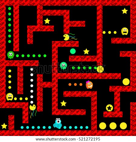 Ghosts monster racing. Arcade game icon. Retro game design. Vector illustration.