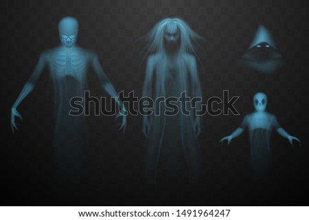 ghosts set on transparent