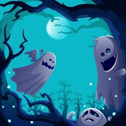 Ghosts spirit.  Autumn tree scene.Halloween background. ghost sheet halloween character design. Isolated vector.