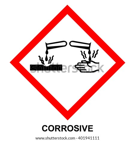 GHS05 hazard pictogram - CORROSIVE , hazard warning sign CORROSIVE , isolated vector illustration