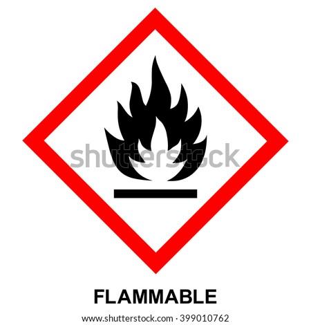GHS hazard pictogram - FLAMMABLE , hazard warning sign flammable , isolated vector illustration